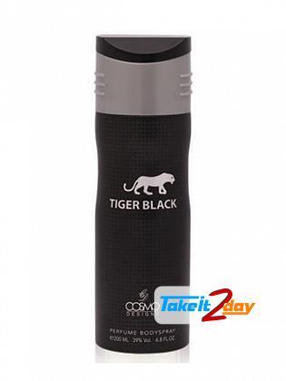 Cosmo Designs Tiger Black Perfumed Deodorant Body Spray For Men 200 ML