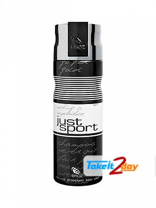 Ekoz Just Sport Noir Deodorant Body Spray For Men 200 ML By Afnan