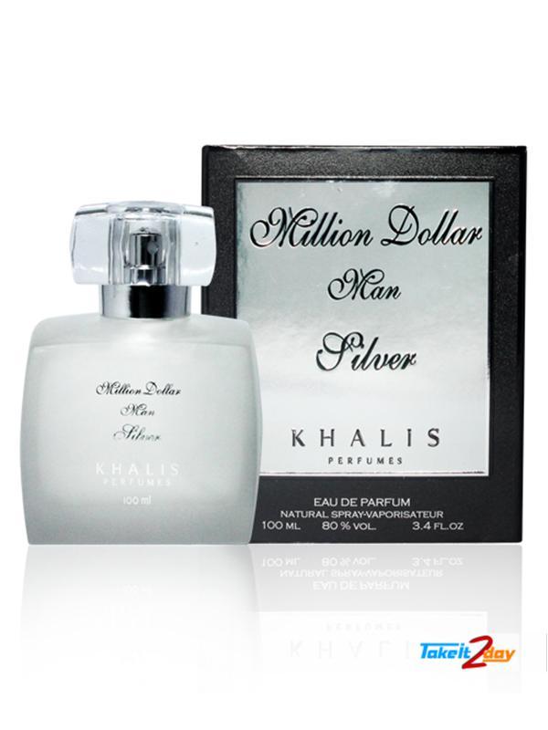 Khalis Million Dollar Men Silver Perfume For Men 100 Ml Edp