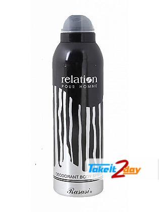 Rasasi Relation Pour Homme Deodorant Body Spray For Men 200 ML